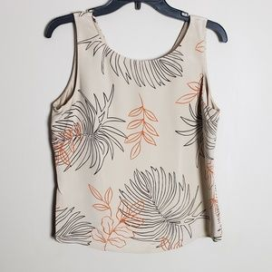 Sandra Tan Silk Leaf Print Tank Size 12